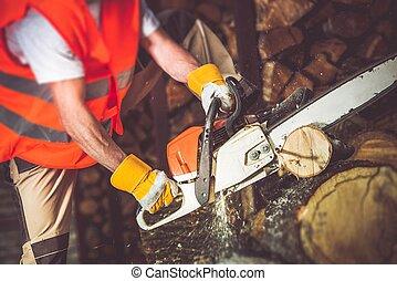 木, 切断, 労働者