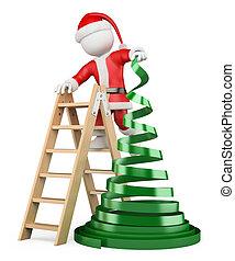 木, 別, 人々。, クリスマス, 3d, 白