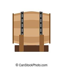 木, 古い, アルコール, 木製である, 型, 白, イラスト, ラベル, ウイスキー, ビール, ベクトル, レトロ, 大樽, 小樽, 樽, ワイン