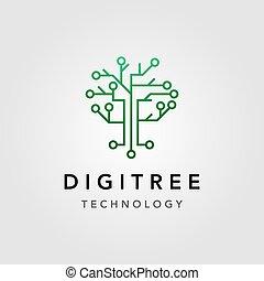 木, 回路, デザイン, 技術, ロゴ, 電気である, ベクトル, デジタル