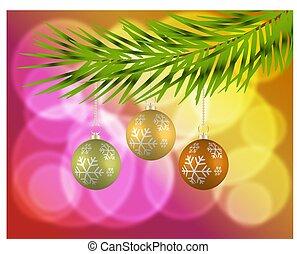 木, 安っぽい飾り, 背景, クリスマス