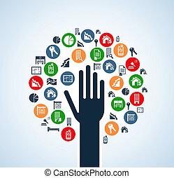 木, 実質, セット, アイコン, 手, 財産