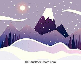 木, 山, 冬, sceneery, 風景, 自然, 空