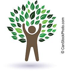 木, 幸せ, image., 人, life., アイコン, ベクトル, natiral, 成功, 概念