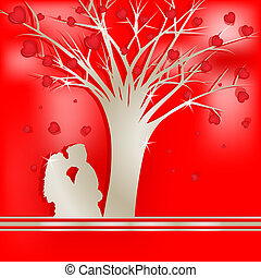 木, 恋人, シルエット, 愛