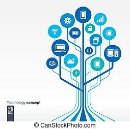 木, 成長, 技術, 回路, 概念