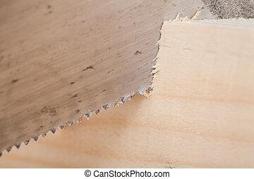 木, 手, 梁, 切断, によって, 鋸