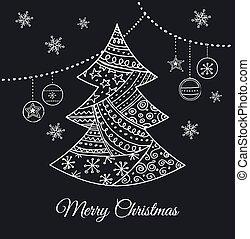 木, 手, 黒, doodles, 引かれる, クリスマス