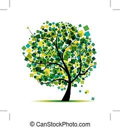 木, 抽象的, あなたの, 緑, デザイン