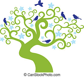 木, 抽象的, イラスト, ベクトル, birds.