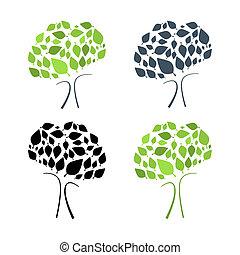 木, 抽象的, イラスト, 背景, 隔離された, セット, ベクトル, 白