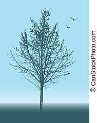 木, 抽象的, シルエット