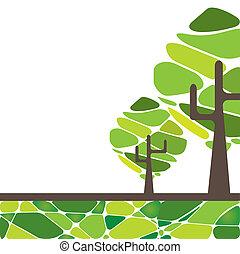 木。, 抽象的, ベクトル, イラスト