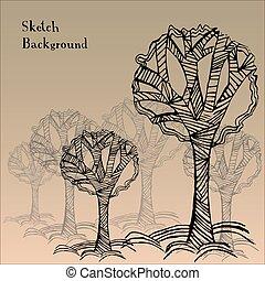 木, 抽象的, ベクトル, 背景, イラスト