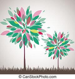 木, 抽象的, ベクトル, flowers., イラスト