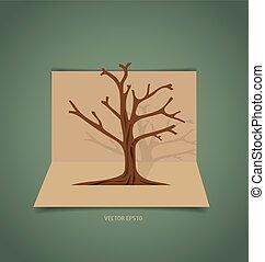 木, 抽象的, ベクトル, illustration.
