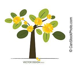 木。, 抽象的, ベクトル, illustration.