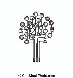 木, 抽象的, 技術, バックグラウンド。