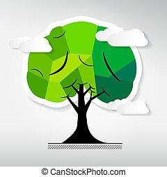 木, 抽象的, 背景, 隔離された, ベクトル, 灰色
