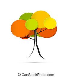 木, 抽象的, 背景, 隔離された, ベクトル, 秋, 白