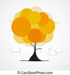 木, 抽象的, 背景, 雲, 隔離された, ベクトル, 秋, 白