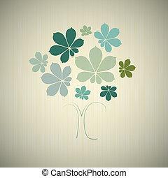 木, 抽象的, 葉, ベクトル, クリ