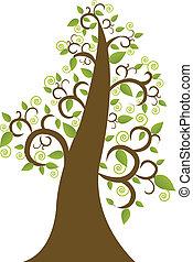 木, 抽象的, 葉