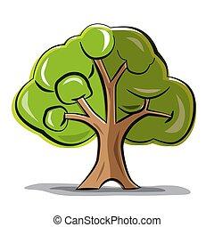 木, 抽象的, -, 隔離された, ベクトル, 背景, 白