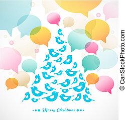 木, 抽象的, 鳥, クリスマス, ベクトル