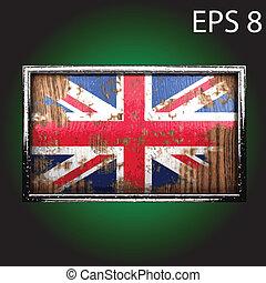 木, 旗, ベクトル, 古い