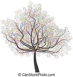 木, 有色人種, ラウンド, leaves.eps, 成果, 抽象的