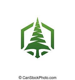 木, 松, 優雅である, 形, ベクトル, デザイン, テンプレート, ロゴ, 六角形