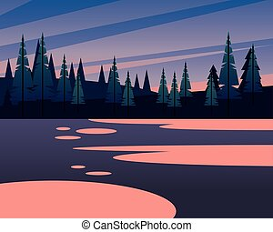 木, 松, 山, デザイン, ベクトル, 風景