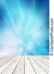 木, 板, 上に, 光沢がある, 抽象的, 青い背景