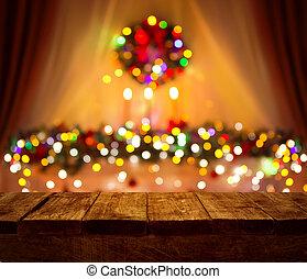 木, 板, 部屋, 木製の机, ぼんやりさせられた, ライト, フォーカス, 背景, ぼやけ, 家, テーブル, クリスマス, クリスマス