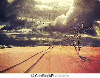木, 死んだ, 軌道に沿って進む, 車, 砂漠の 景色
