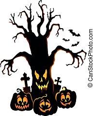 木, 気味悪い, シルエット, 4, topic, イメージ