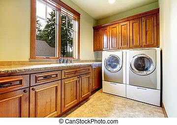 木, 洗濯室, cabinets., 贅沢