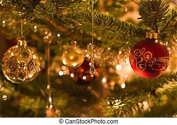木, 浅い, -, dof, 装飾, クリスマス
