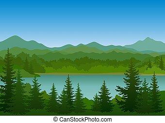 木, 湖, 山の景色