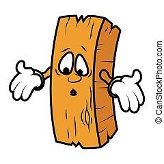 木, 漫画, 驚かされる, 丸太