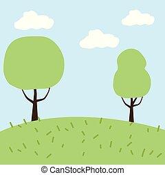 木, 牧草地, 風景
