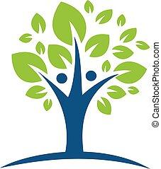 木, 特徴, 緑, 人間, logo.