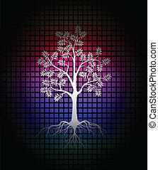 木, 現代, シルエット, 背景