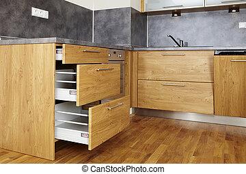 木, 現代, 台所