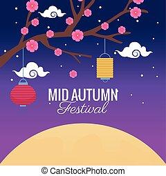 木, 秋, ランタン, 祝福, 祝祭, 掛かること, 花, 中央の