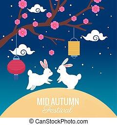 木, 秋, 祝福, 祝祭, 花, 中央の, ウサギ