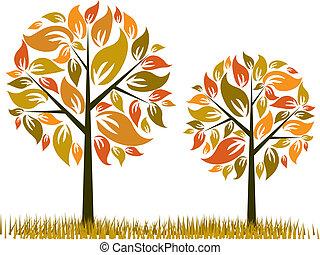 木, 秋, 背景, ベクトル