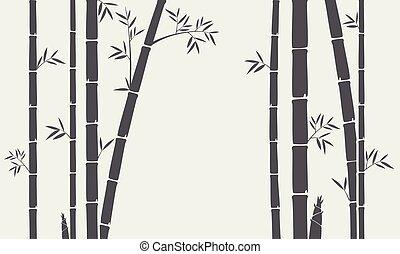 木, 竹, シルエット, 背景