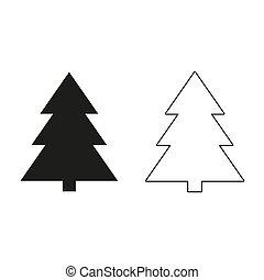 木, -, 緑, ベクトル, アイコン